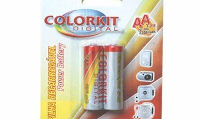 Pilha Recarregável AA Colorkit – Cartela com 2 pilhas