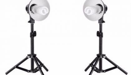 Kit de Iluminação PK-L45 – 02 Iluminadores Diâmetro 17 CM + 2 Tripés 45CM + 02 Lâmpadas 45W